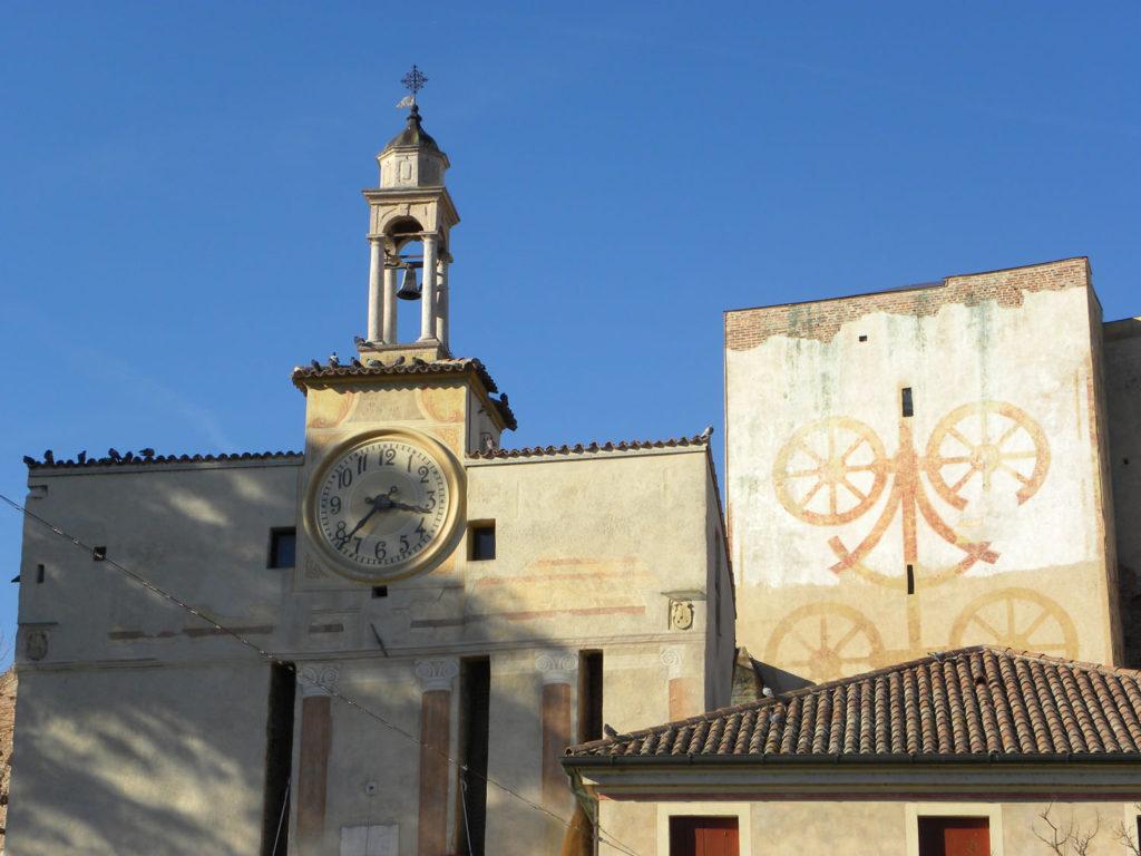 Porta Padova, Cittadella, orologio, stemma Carraresi